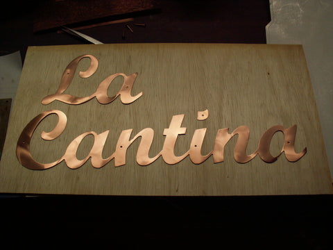 la cantina custom copper cut out letters