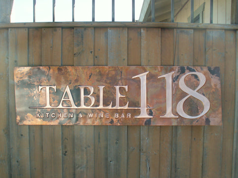 custom copper restaurant sign