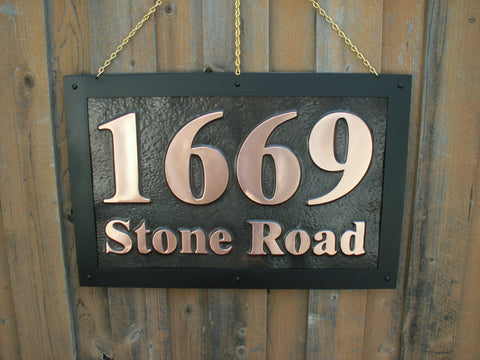 customized rectangle address sign with street name