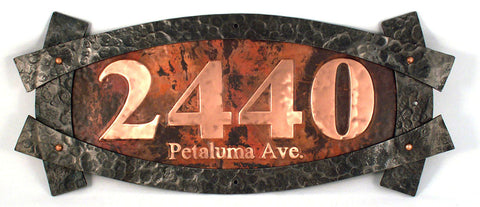 custom frame copper address sign