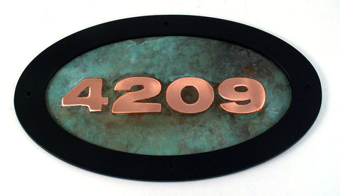 verdigris green patina copper address sign