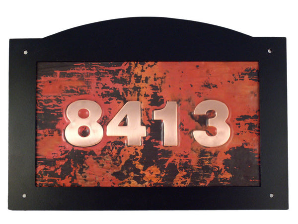 arch top copper address sign
