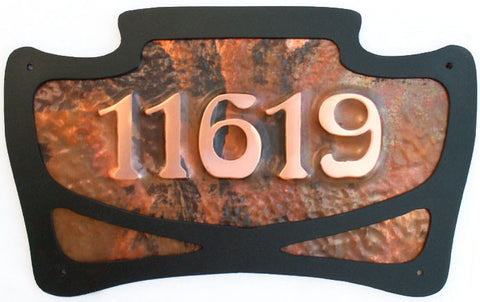 art nouveau copper address plaque