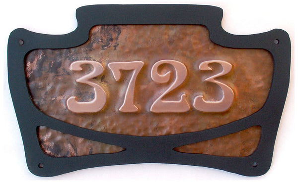 art nouveau copper address sign