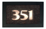 rectangle oil rubbed hammered copper address sign
