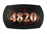 hammered copper moderne modern custom address plaque