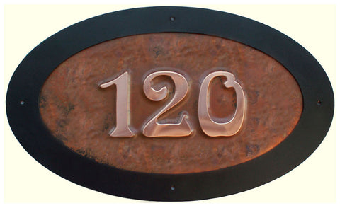 oval copper house numbers
