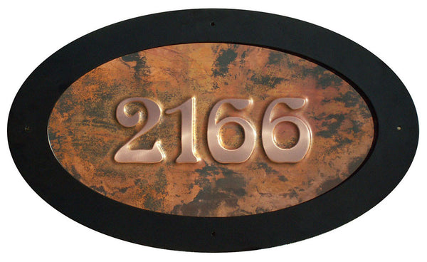 oval copper address sign