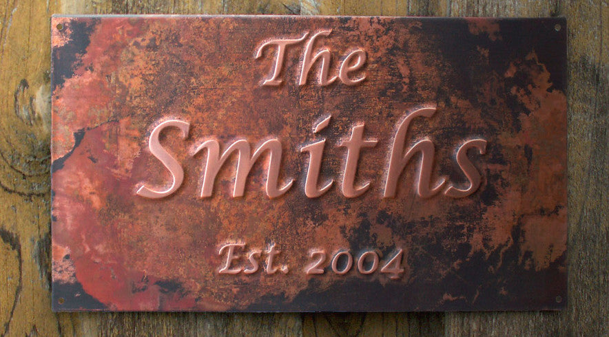 Custom copper anniversary sign