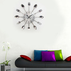 Modern Stainless Steel Knife Fork Wall Clock Analog for Home Office - Vinyl Boutique Shop