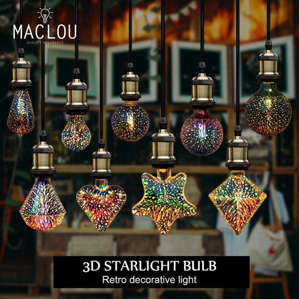 3D retro Vintage Edison Night Light Led Bulb Lamp 220V G95 Lampara Ampoule lampada Star Holiday Christmas Decoration Lighting - Vinyl Boutique Shop