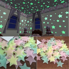 100pcs 3D Stars Glow In The Dark Wall Stickers Luminous Fluorescent Wall Stickers For Kids Baby Room Bedroom Ceiling Home Decor - Vinyl Boutique Shop