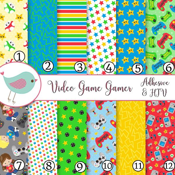 Video Game Gamer Vinyl Sheets School Print Adhesive Vinyl Heat Transfer Craft Vinyl Pattern Vinyl