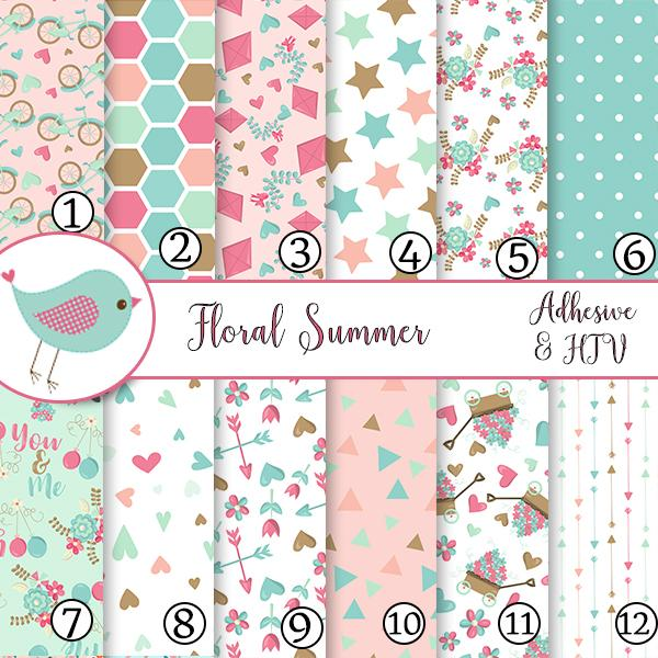 Floral Flowers Summer Pink Pastel Vinyl Sheets School Print Adhesive Vinyl Heat Transfer Craft Vinyl Pattern Vinyl