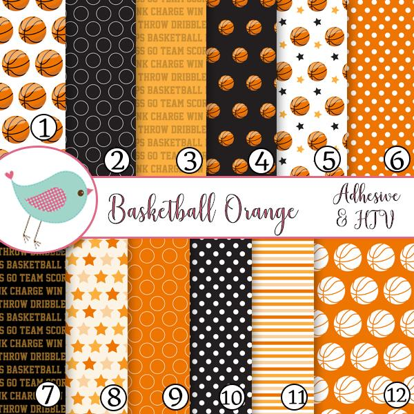 Basketball Sports Black and Orange Vinyl Print Adhesive Vinyl Heat Transfer Craft Vinyl Pattern Vinyl