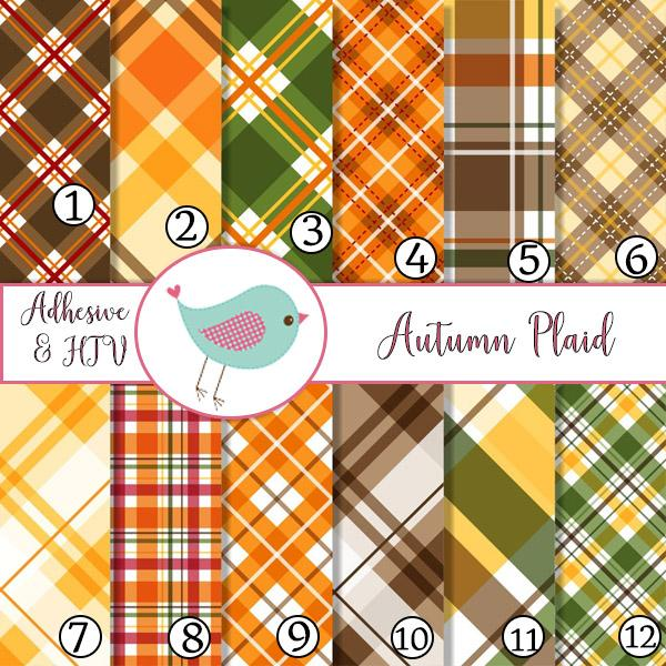 Autumn Fall Plaid Colors Orange Yellow Adhesive Vinyl Heat Transfer Craft Vinyl Pattern Vinyl