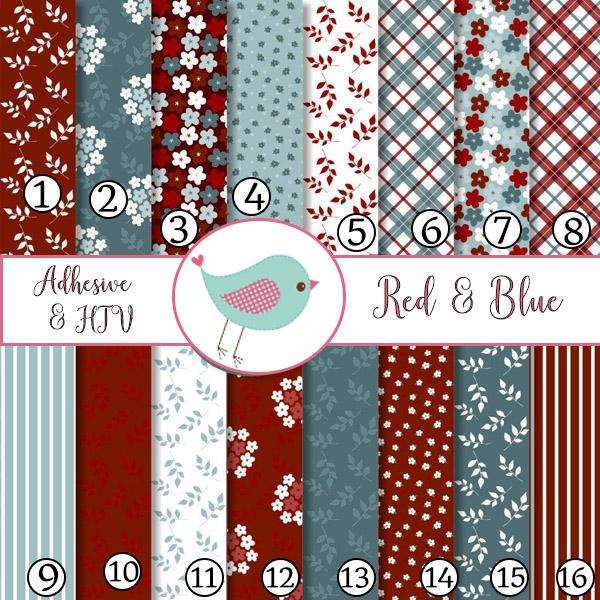 Red and Blue Flowers 4th of July Independence Day Adhesive Vinyl Heat Transfer Craft Vinyl Pattern Vinyl