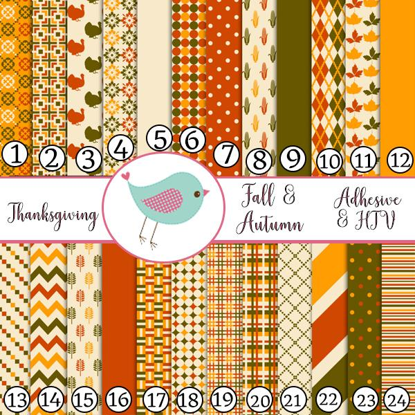 Thanksgiving Fall Autumn Polka dots stripe turkey Adhesive Vinyl Heat Transfer Craft Vinyl Pattern Vinyl