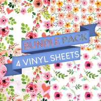 Floral Vinyl Sheets Vinyl Sheets - Pack of 4 - Vinyl Boutique Shop