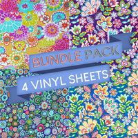 Floral Pattern Vinyl Sheets - Pack of 4 - Vinyl Boutique Shop
