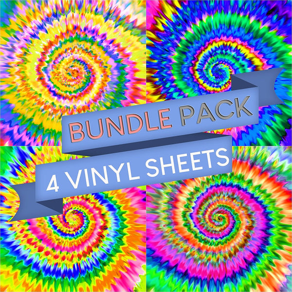 Tie Dye Patterns Vinyl Sheets - Pack of 4 - Vinyl Boutique Shop