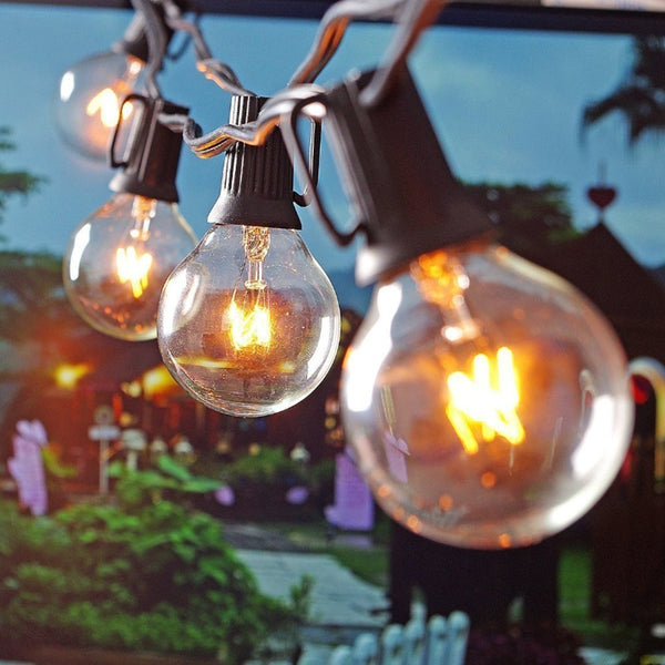 25Ft G40 Globe Bulb String Lights With 25 Clear Ball Vintage Bulbs Indoor/Outdoor Hanging Umbrella Patio String Lighting EU/US - Vinyl Boutique Shop