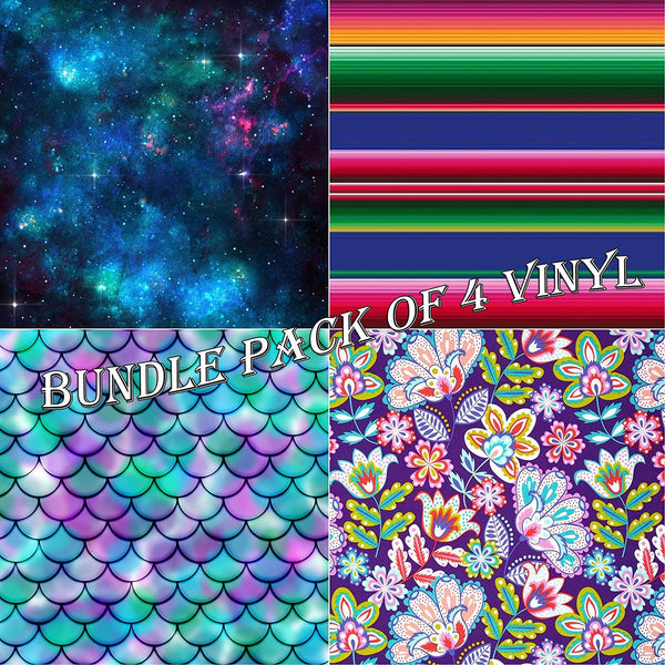 Mixed Patterns Vinyl Sheets - Pack of 4 - Vinyl Boutique Shop
