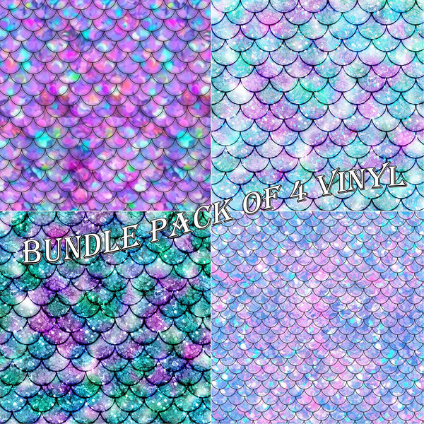 Mermaid Patterns Vinyl Sheets - Pack of 4 - Vinyl Boutique Shop