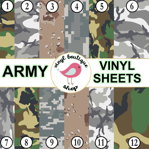 Army Camo print Adhesive Heat Transfer Vinyl Sheet - Vinyl Boutique Shop