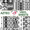 Aztec Black and White Geometric print Adhesive Heat Transfer Vinyl Sheet - Vinyl Boutique Shop