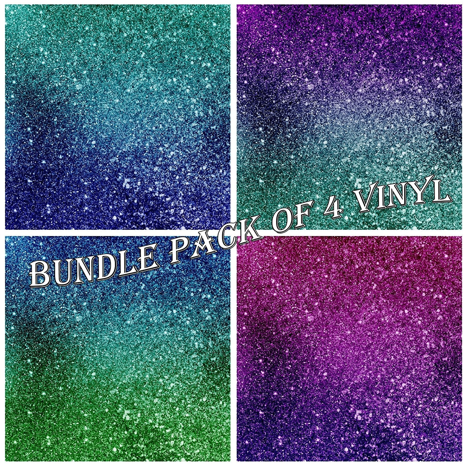 Galaxy Pattern Faux Glitter Vinyl Sheets - Pack of 4 - Vinyl Boutique Shop
