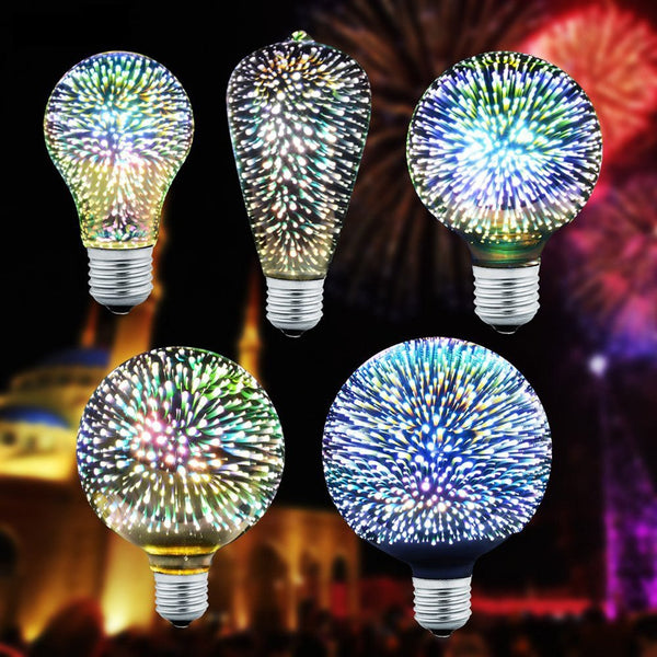3D Fireworks LED Bulb E27 G95/A60/ST64 Vintage Edison Night Light Star Colorful Bombillas For Home Decoration Christmas Lamparas