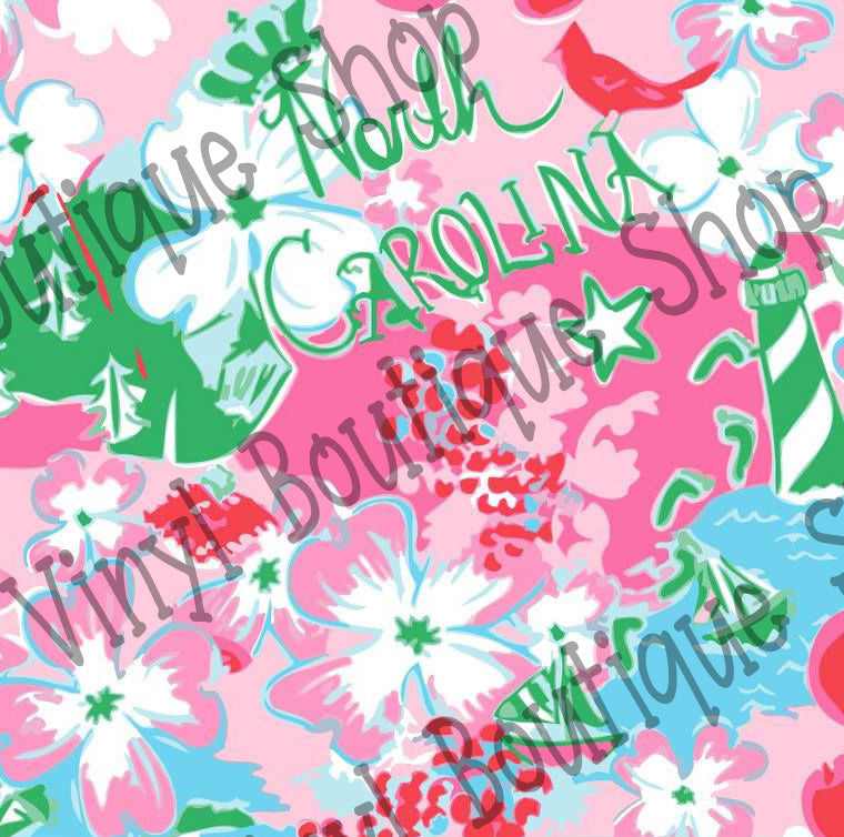 North Carolina Lilly Inspired Vinyl - Vinyl Boutique Shop