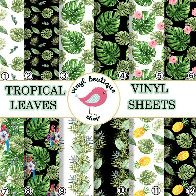 Tropical Leaves Lilac Printed Patterned Craft Vinyl Sheet 0518 - Vinyl Boutique Shop