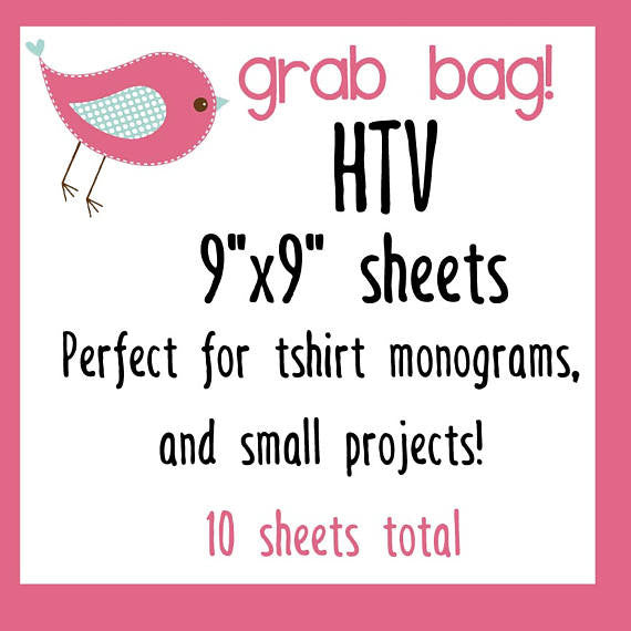 "Grab Bag 10 sheets 9""x9"" perfect for tshirt Monograms and Small Projects - Vinyl Boutique Shop"