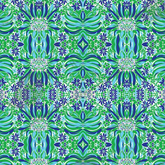 Flowey Flowers Big Green Blue Lilly Inspired Small Scale Vinyl Sheet - Vinyl Boutique Shop