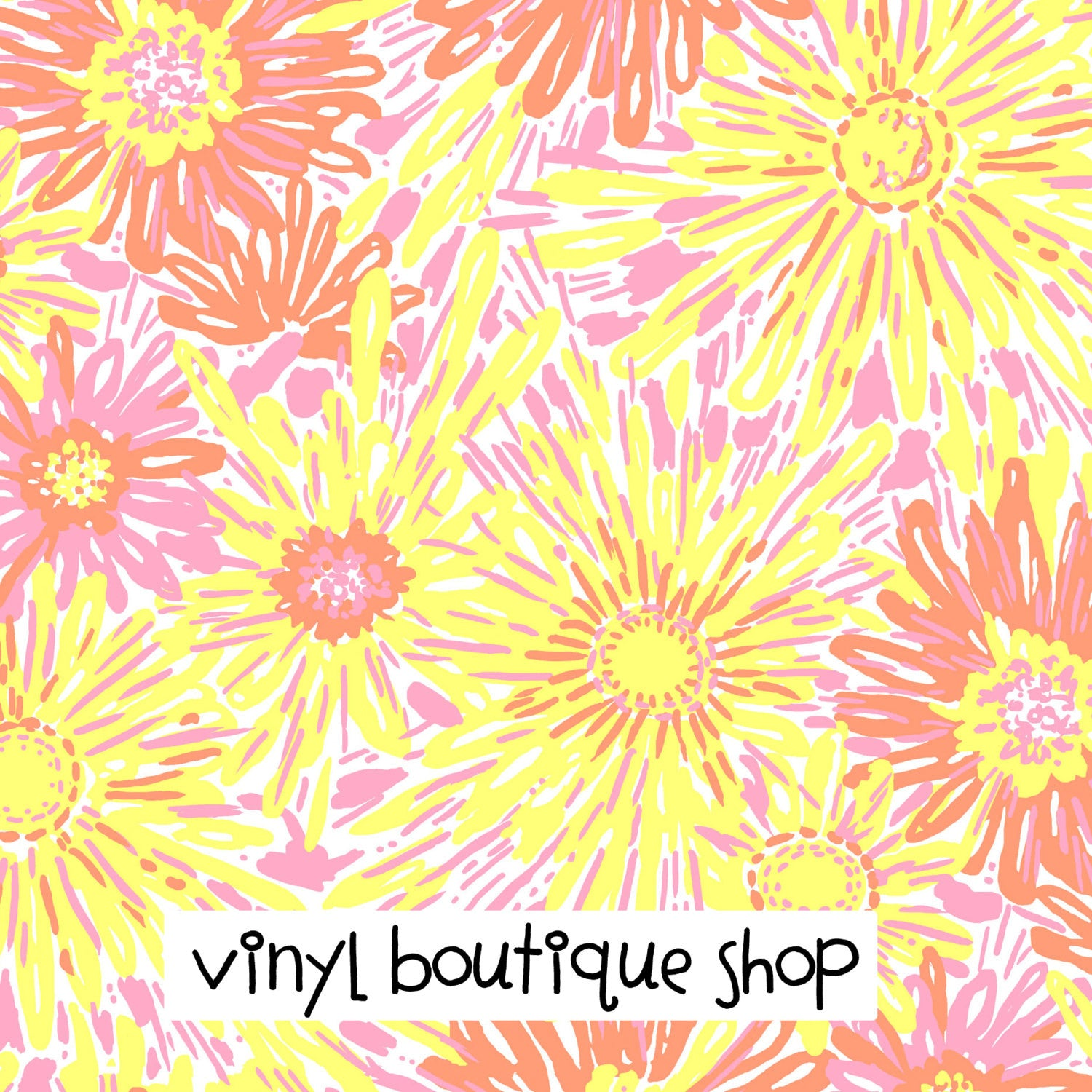 Sunkissed Yellow Orange Lilly Inspired Printed Patterned Craft Vinyl - Vinyl Boutique Shop