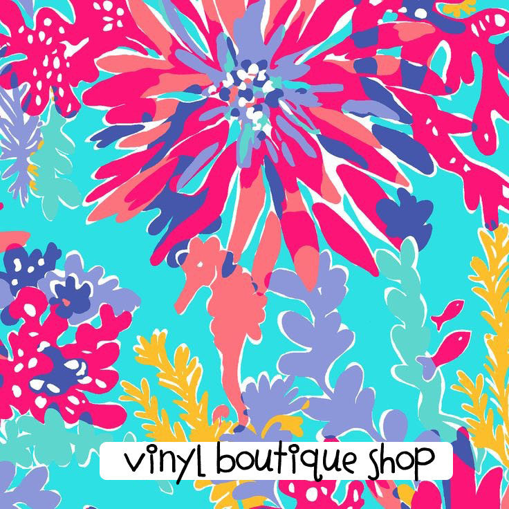 Trippin And Sipping Aqua Lilly Inspired Printed Patterned Craft Vinyl - Vinyl Boutique Shop