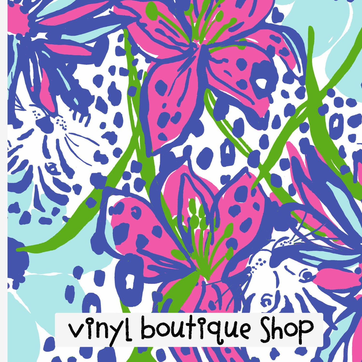In The Garden Lilly Inspired Printed Patterned Craft Vinyl - Vinyl Boutique Shop