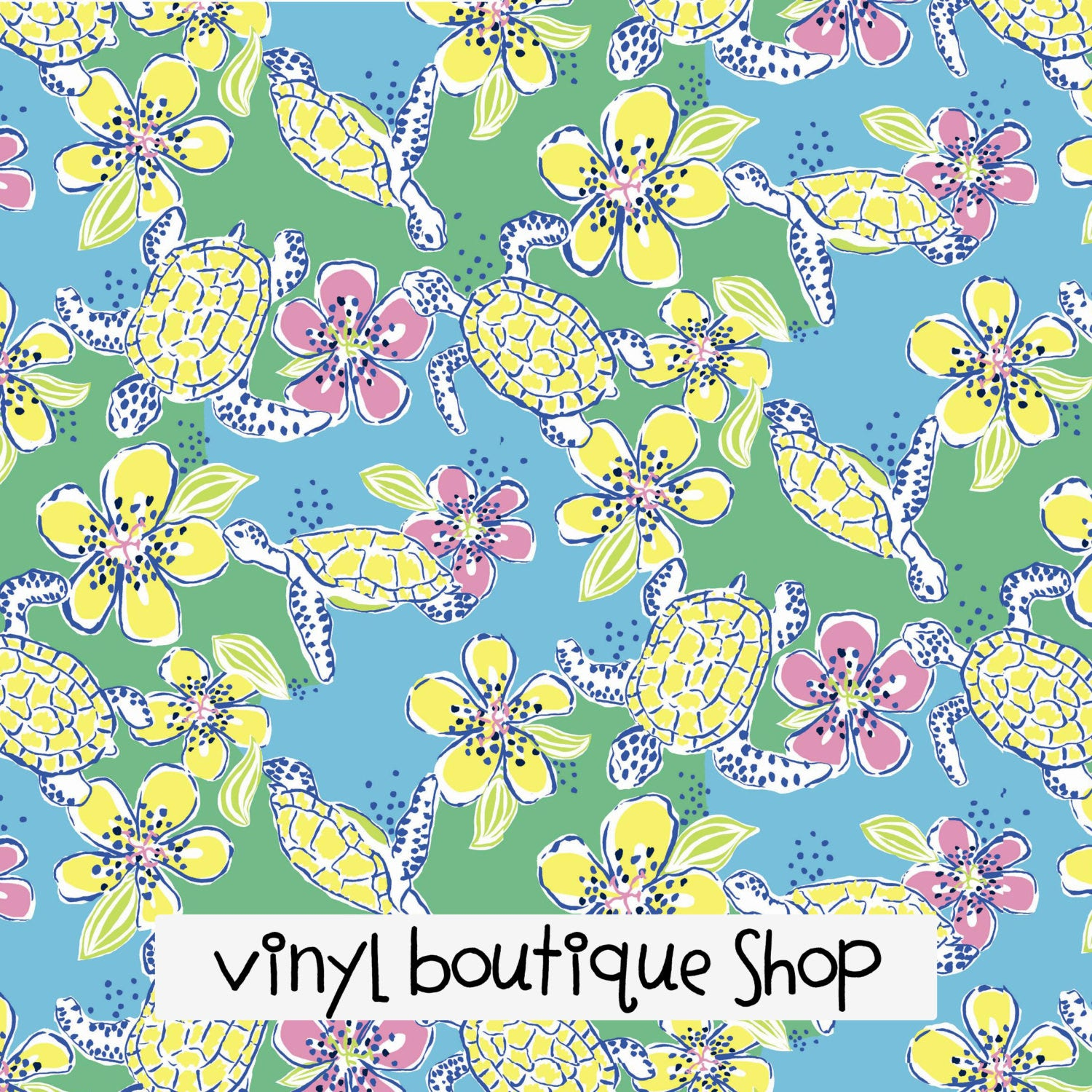 Moving Slowly Turtle Floral Lilly Inspired Printed Patterned Craft Vinyl - Vinyl Boutique Shop