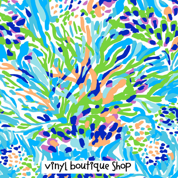 Sea Soiree Lilly Inspired Printed Patterned Craft Vinyl - Vinyl Boutique Shop