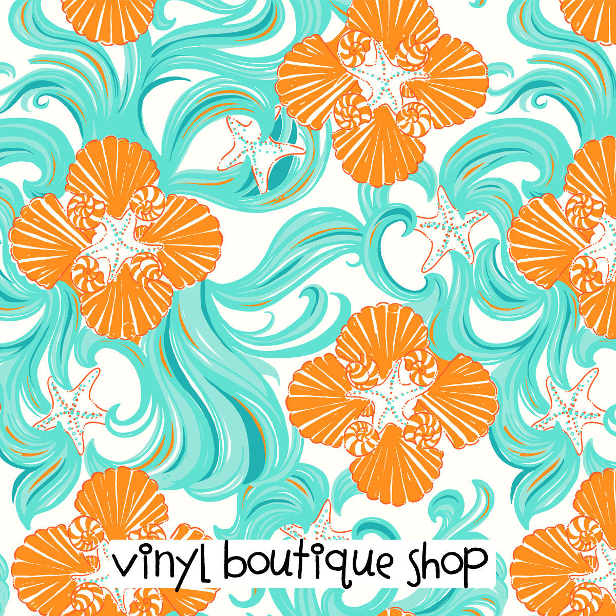 Wave Starfish Lilly Inspired Printed Patterned Craft Vinyl - Vinyl Boutique Shop