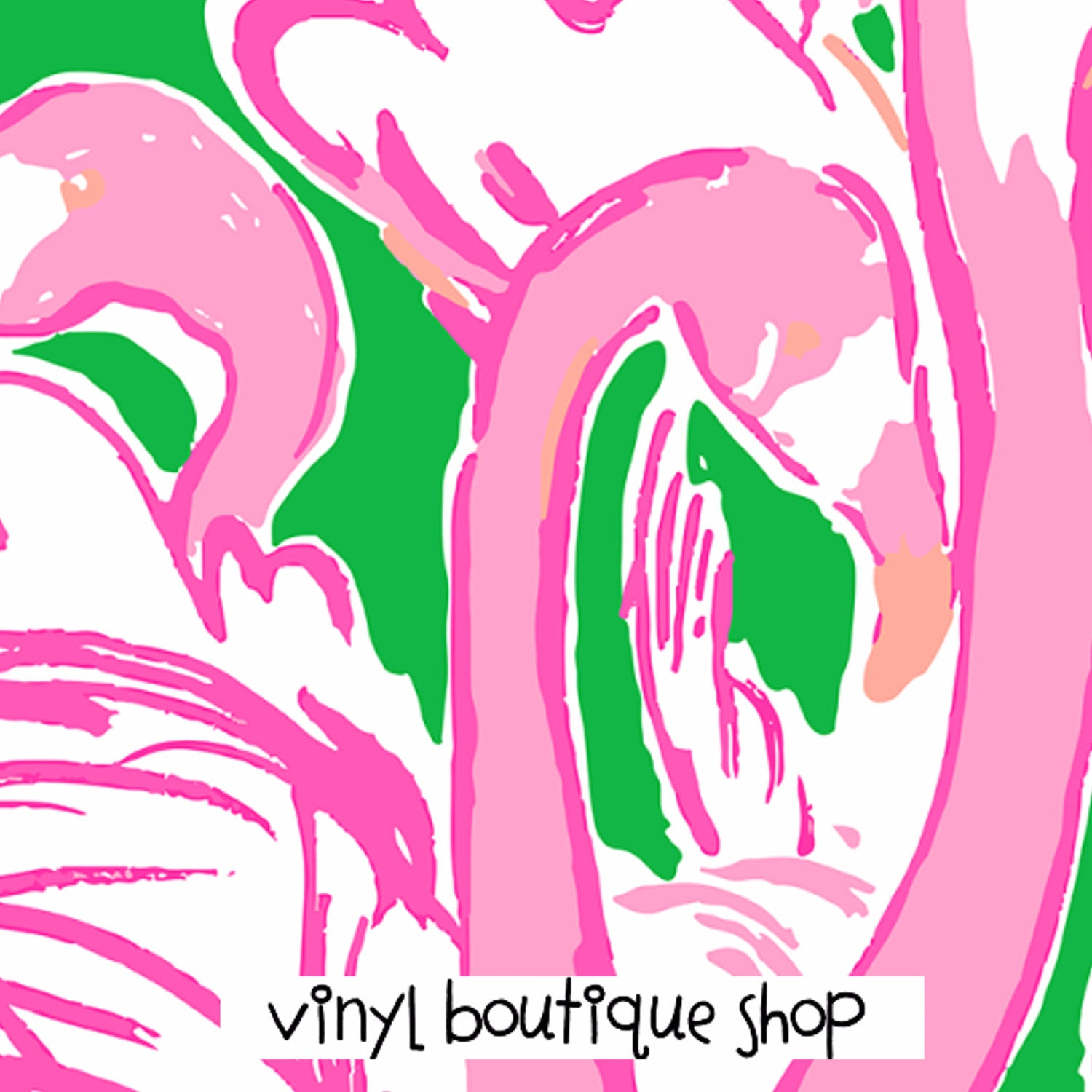 Flamingo Print Lilly Inspired Printed Patterned Craft Vinyl - Vinyl Boutique Shop