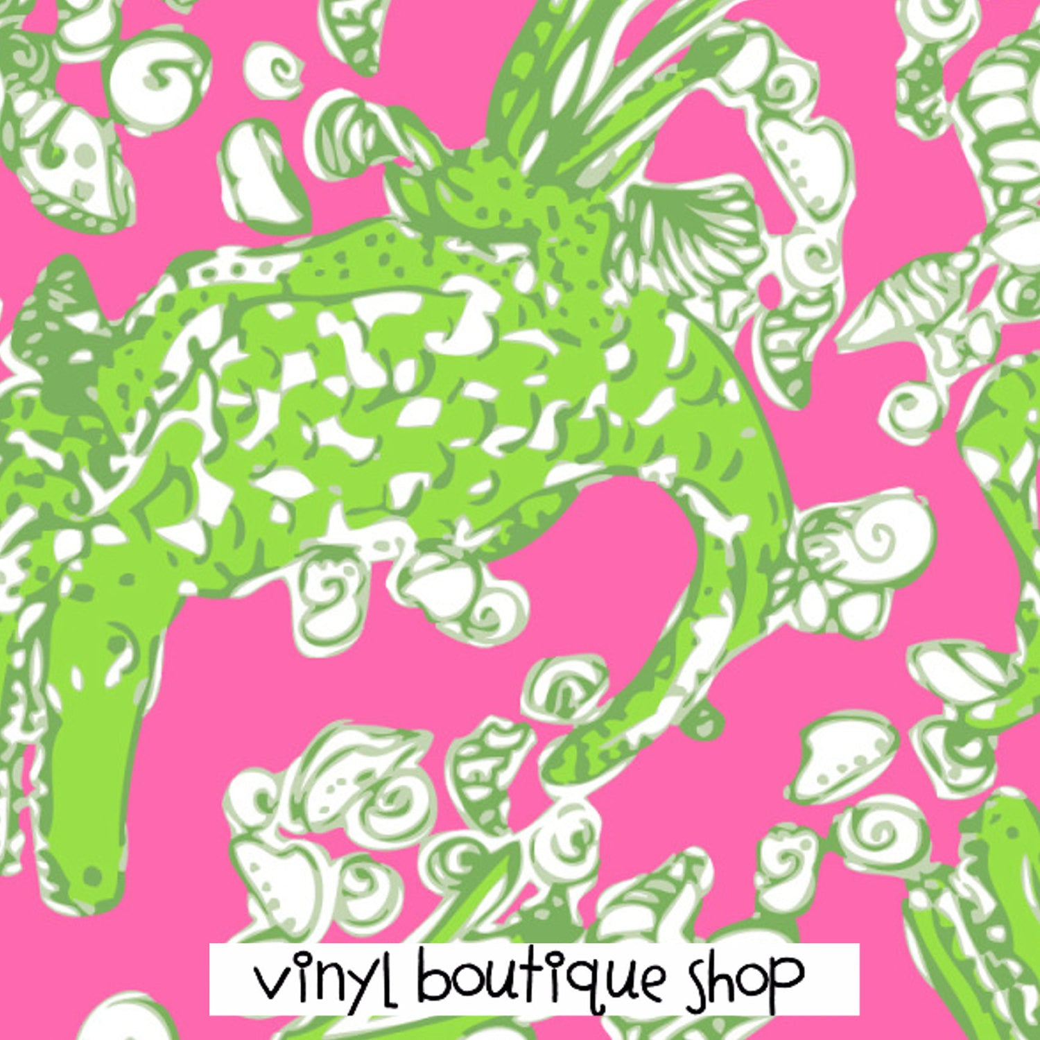 Green Lilly Inspired Printed Patterned Craft Vinyl - Vinyl Boutique Shop