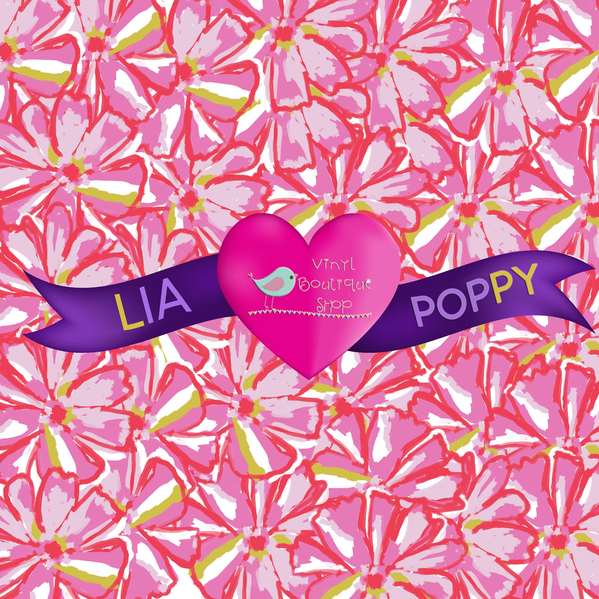 Pink Flower Lia Poppy Vinyl Sheet Sheet LPY-7 - Vinyl Boutique Shop