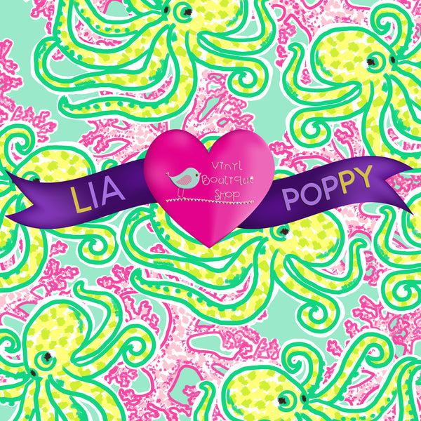 Octopus Lia Poppy Vinyl Sheet LPY-64 - Vinyl Boutique Shop