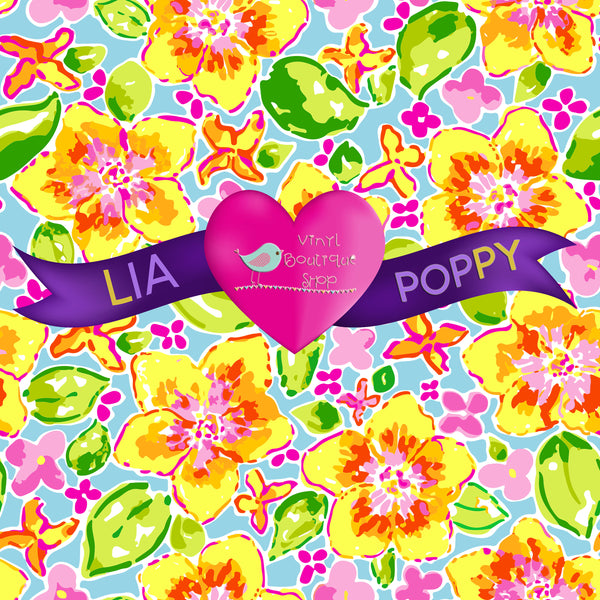 Flower Lia Poppy Vinyl Sheet LPY-173 - Vinyl Boutique Shop