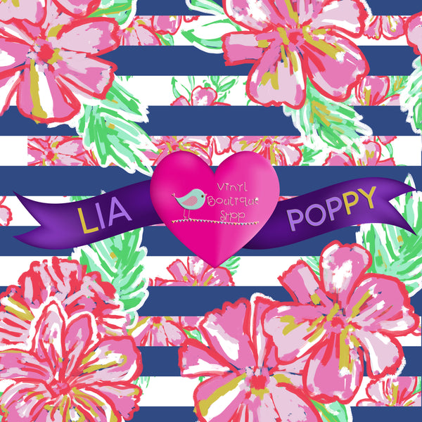 Pink Hibiscus Lia Poppy Vinyl Sheet LPY-9 - Vinyl Boutique Shop