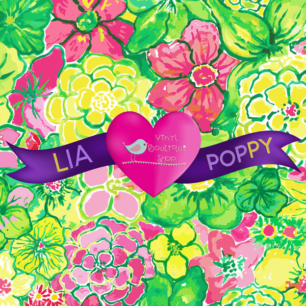 Flower Lia Poppy Vinyl Sheet LPY-164 - Vinyl Boutique Shop