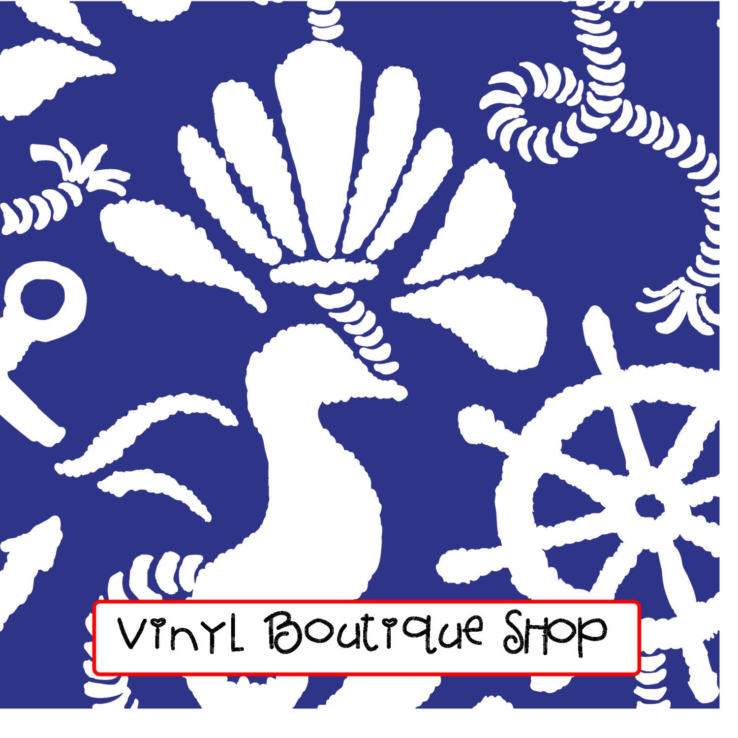 Navy Blue Anchors Away Lilly Inspired Printed Patterned Craft Vinyl - Vinyl Boutique Shop